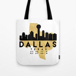 DALLAS TEXAS SILHOUETTE SKYLINE MAP ART Tote Bag