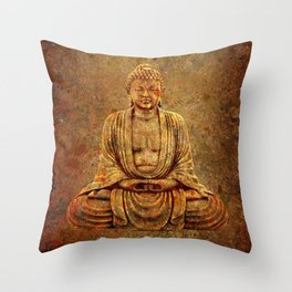 Sand Stone Sitting Buddha Throw Pillow