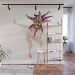1417s-MM The Jester Bares All High Key Fine Art Masked Nude Wall Mural