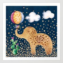 Elephant Play Art Print