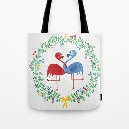 FlamingosTangled in Love Tote Bag