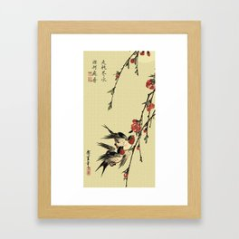 Moon Swallows and Peach Blossoms Framed Art Print