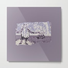 Jessie Frying up a Pan Full of Sausages on the Range Metal Print
