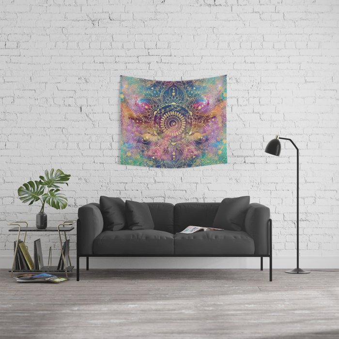 Gold watercolor and nebula mandala Wall Tapestry