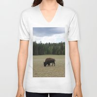 buffalo V-neck T-shirts featuring Buffalo  by Taylor Palmer