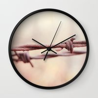 the wire Wall Clocks featuring Wire by Alise Carter