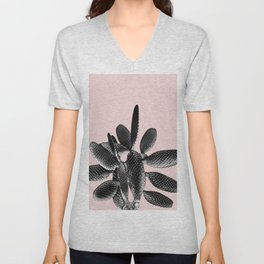 Black Blush Cactus #1 #plant #decor #art #society6 Unisex V-Neck