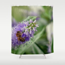 Bee Gathering Pollen on a Flower Shower Curtain