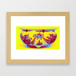 A BLUE AND WHITE 'DRAGON' CENSER QING DYNASTY, KANGXI PERIOD Neon art by Ahmet Asar Framed Art Print