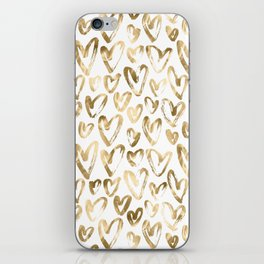 Gold Love Hearts Pattern on White iPhone Skin