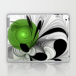 Abstract Black and White with Green Laptop & iPad Skin