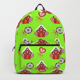 Magical gingerbread houses, colorful candy lollipops. Retro vintage cozy Christmas pattern Backpack