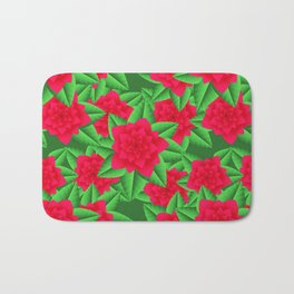 Dark Red Camellias and Green Leaves Bath Mat