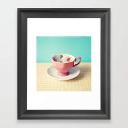 Pink flower cup Framed Art Print