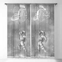 Astronaut & Balloons Planets Sheer Curtain