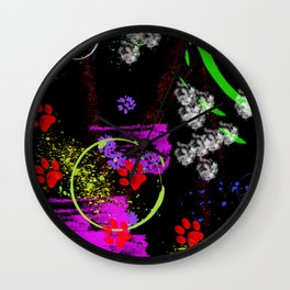 Cats in paint Wall Clock