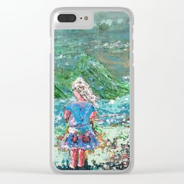 Little Girl, Ivy, Nature on a Windy Day: a colorful abstract piece in blue and greens by KKingCre Clear iPhone Case