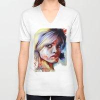 daisy V-neck T-shirts featuring Daisy by Olga Noes