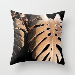 Copper Monsteria Throw Pillow