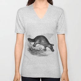 Duck-billed platypus from Adventures of a Gold-Digger (1856) Unisex V-Neck