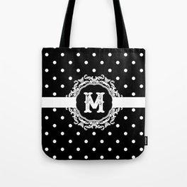 Black Monogram: Letter M Tote Bag