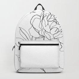 Botanical illustration line drawing - Peony Backpack