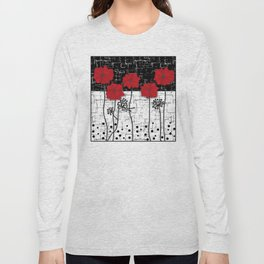 Applique Poppies on black and white background . Long Sleeve T-shirt
