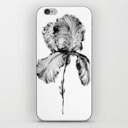 Flower Painting | Iris | Minimalism | Black And White | Rustic | Art Print iPhone Skin