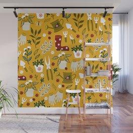 Gardening Seamless Pattern with Flowerpot, Garden Gloves and Secateurs and etc.  Wall Mural