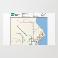 milwaukee Area & Throw Rugs featuring Milwaukee Transit System Map by Carticulate Maps