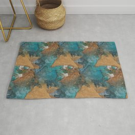 Gold Triangles on Teal Rug