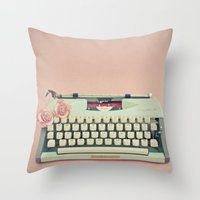 letter Throw Pillows featuring Love Letter by Cassia Beck