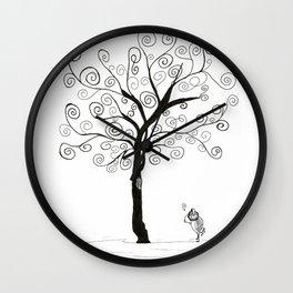 bird, music and tree Wall Clock