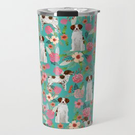 Brittany Spaniel florals pattern dog gifts for dog lovers cute puppies pet portrait Travel Mug