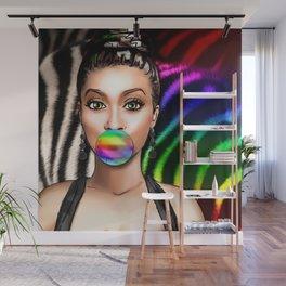 Retro Pinup Girl Rainbow Bubble Gum & Zebra Print Wall Mural