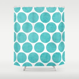 aqua polka dots Shower Curtain