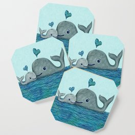 Whale Mom and Baby with Hearts in Gray and Turquoise Coaster