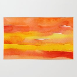 Watercolor Pattern Abstract Summer Sunrise Sky on Fire Rug