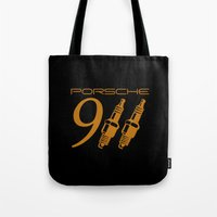 porsche Tote Bags featuring Porsche 911 by Barbo's Art