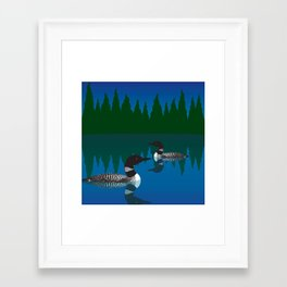 Loons in a Woodland Lake Framed Art Print