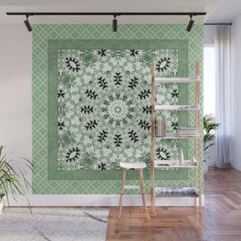 Light green ornament, kaleidoscope, mandala, patchwork, green mandala, light green kaleidoscope, eth Wall Mural