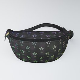 Large rainbow ombre stars on black background Fanny Pack