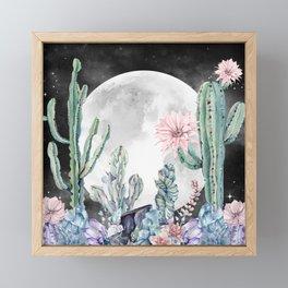 Desert Nights Gemstone Oasis Moon Night Framed Mini Art Print