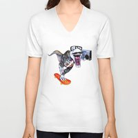trex V-neck T-shirts featuring TRex Hipster Dufus by Designer R.M.D