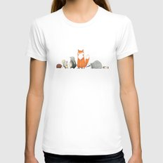 Woodland Creatures X-LARGE White Womens Fitted Tee