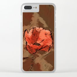 Poppy flower illustration, red graphic, floral print Clear iPhone Case