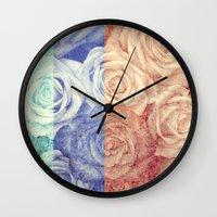 vintage flowers Wall Clocks featuring Vintage Flowers by Del Vecchio Art by Aureo Del Vecchio