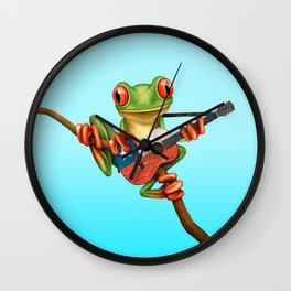 Tree Frog Playing Acoustic Guitar with Flag of Chile Wall Clock