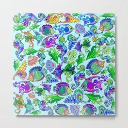 Marine Life Exotic Fishes & SeaHorses Ornamental Style Metal Print
