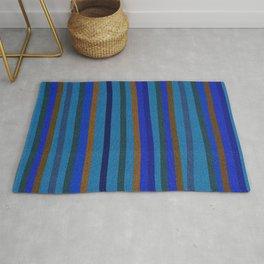 Denim Stripes in Blue, Tan, Cyan & Chocolate Rug
